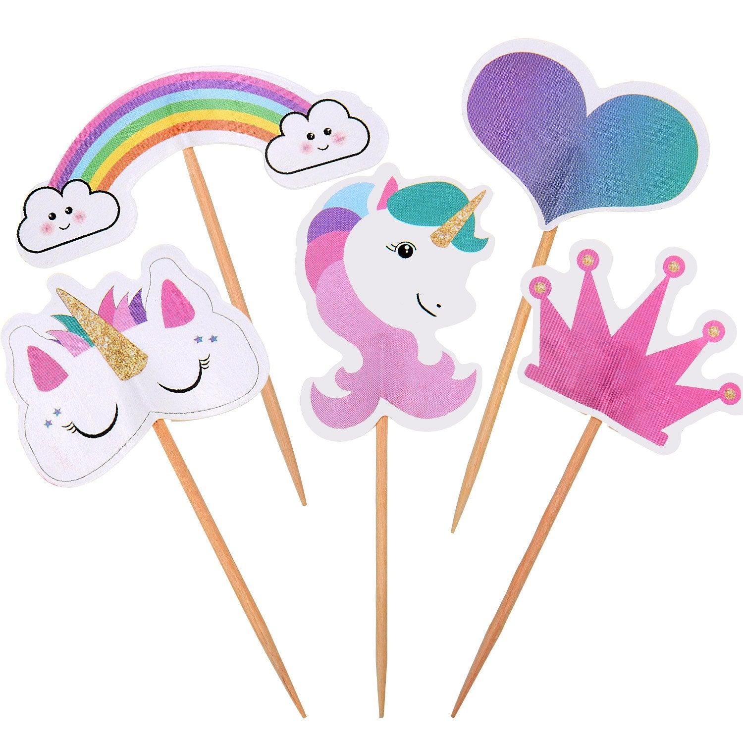 Unicorn Cake Toppers on Sticks For Cakes and Cup Cakes - Special Occasions