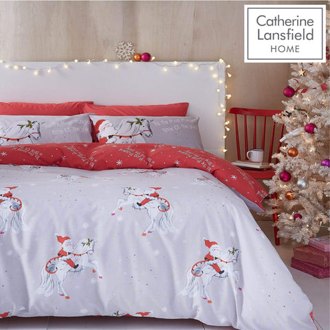 Christmas Unicorn Double Duvet Set Grey