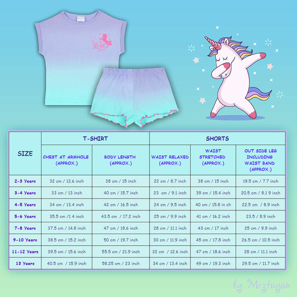 Metzuyan Girls Summer Unicorn Printed Cute Sleepwear Pyjama Set 11-12 Yrs