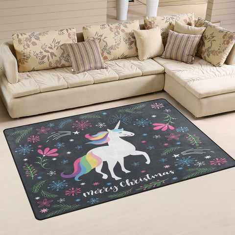 Unicorn Merry Christmas Rug