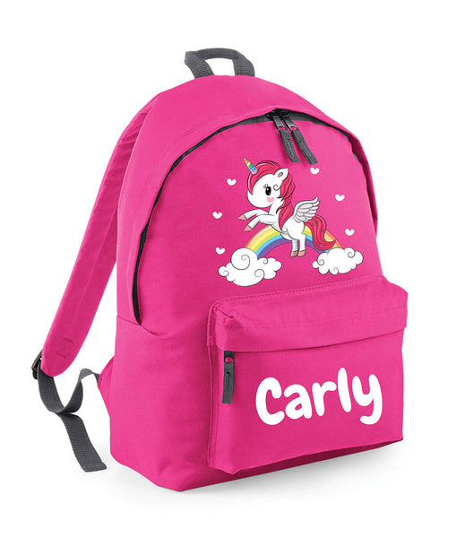 Personalised Unicorn Backpack For Kids - Deep Pink