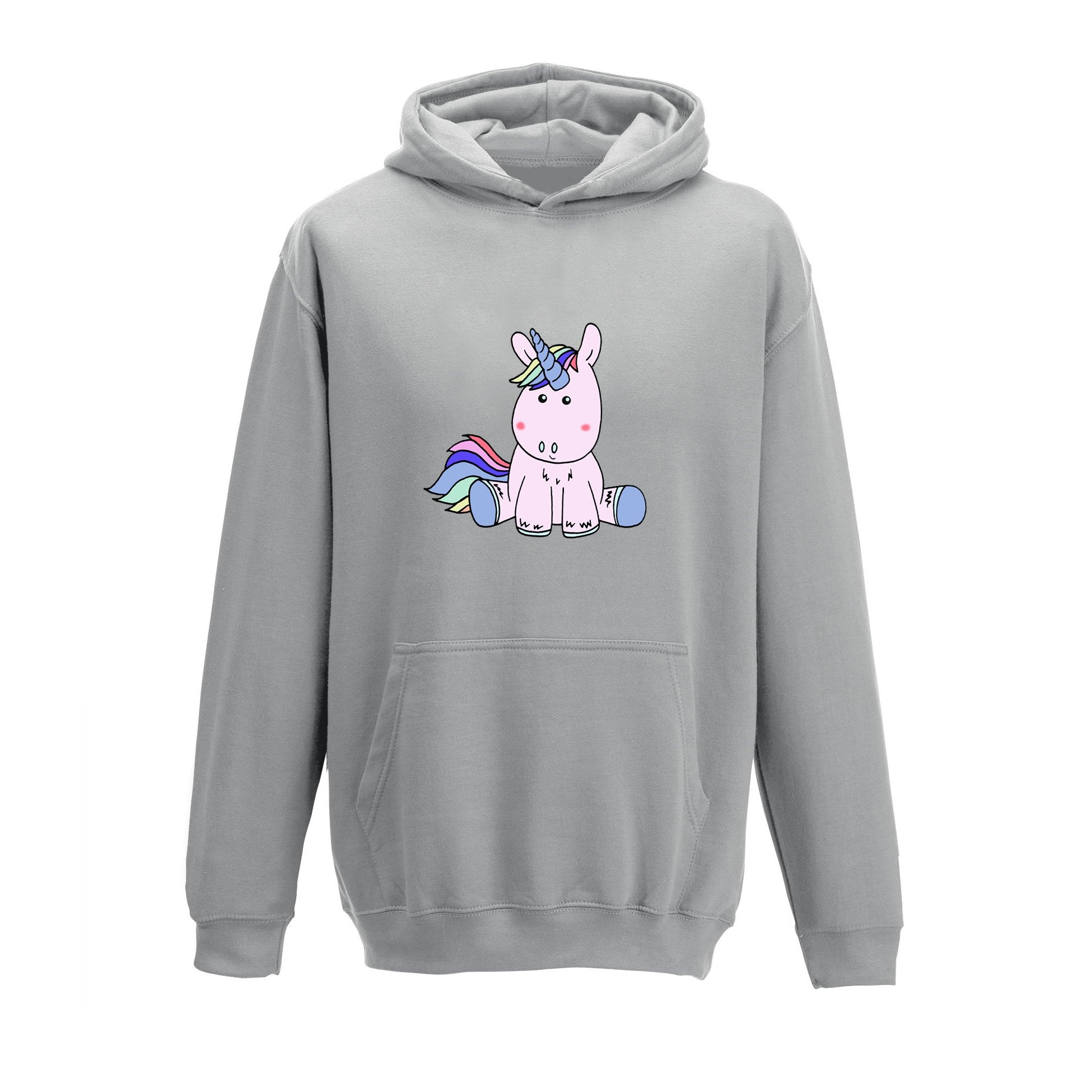 Stuart the Unicorn Kid's Girls Hoodie - Dove Grey