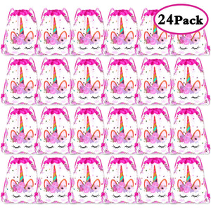 Unicorn Drawstring Party Bag Unicorn Themed - 24 Pack