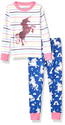 kids unicorn pyjamas hatley pink blue