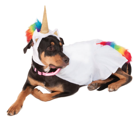 Unicorn cape costume for dog