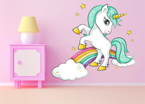 Unicorn large wall sticker - rainbow