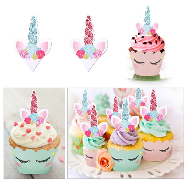 Unicorn Cupcake Decorations / Toppers Horn Ears and Eyelash Double Sided Cupcake Wrappers