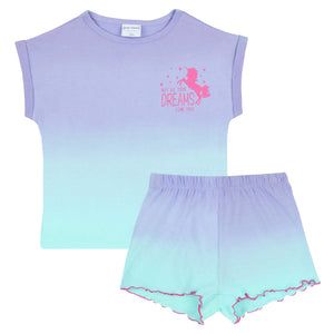 unicorn pyjamas top and shorts