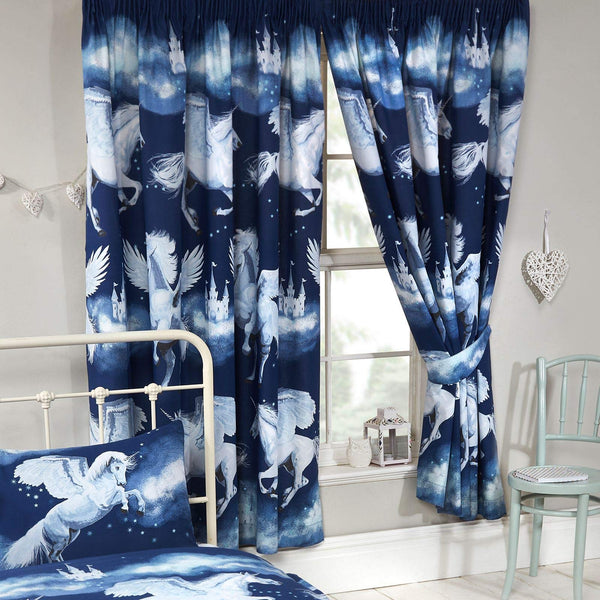 Price Right Home Navy Blue Stardust Unicorn Lined Curtains