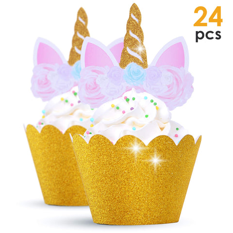 unicorn cupcake toppers lilac and gold