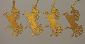 Unicorn Christmas Tree Decorations - Rose Gold