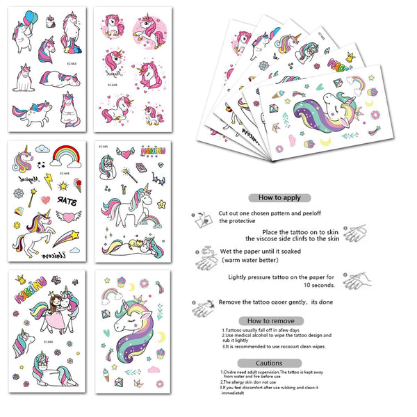 Unicorn Party Bag Fillers - Unicorn Temporary Tattoos