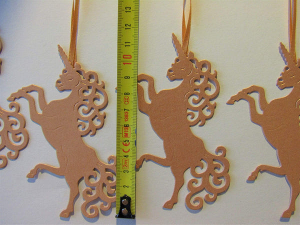 Christmas Tree Decorations (pack 4) Rose Gold Colour - Unicorn