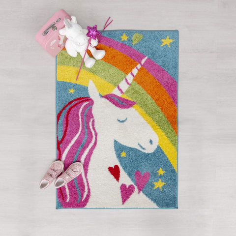 Unicorn Rug For Kids Playroom / Bedroom  (Unicorn Rainbow, 80x120 cm (2'7''x5'6'')