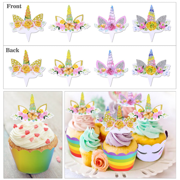 Selection of Unicorn Cupcake Wrappers, Unicorn Cupcake Toppers Horn and Ears Double Sided Wrappers for Kids Baby Girls Unicorn Themed Birthday