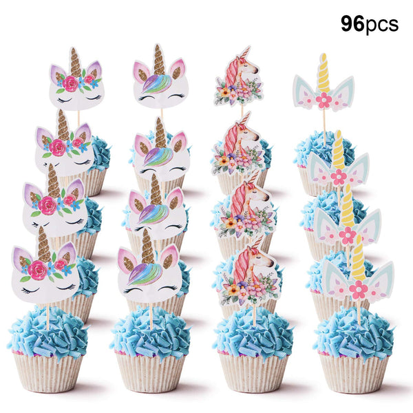Unicorn Cupcake Toppers Decorations for Baby Shower Kids Birthday Party - Pastel Colours