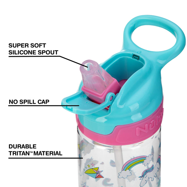 Nuby Trendz Grande Water Bottle, 540 ml, Unicorns Turquoise