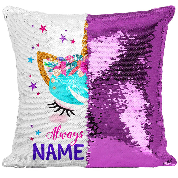 Personalised Unicorn Cover Sequin Cushion Pink