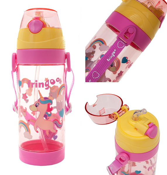 FRINGOO® Kids Children Straw Drinks Water Bottle 550ml Handle Strap Flip Top (Unicorns)