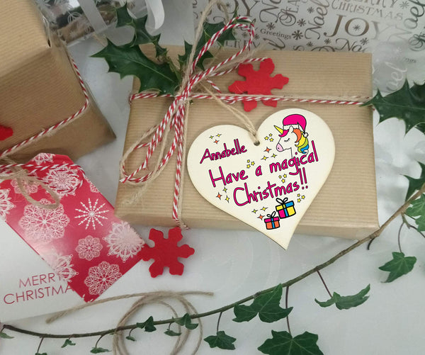 Personalised Christmas Tree Bauble - Wooden Heart Plaque Decoration Gift