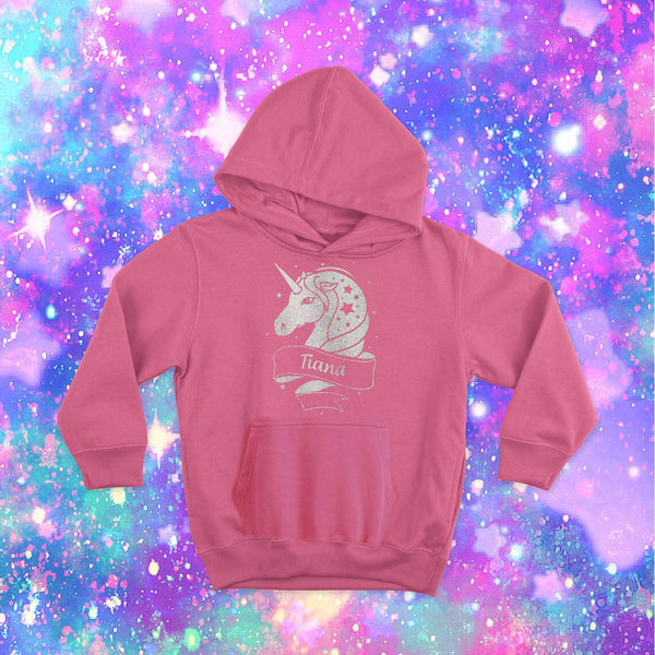 Personalised Unicorn Kids Hoodie Sapphire Pink - Ages 2-13