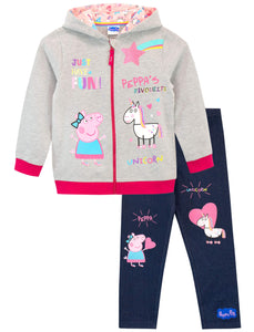 Peppa Pig Girls Unicorn Hoodie & Leggings Set Multicoloured Age 3 to 4 Years