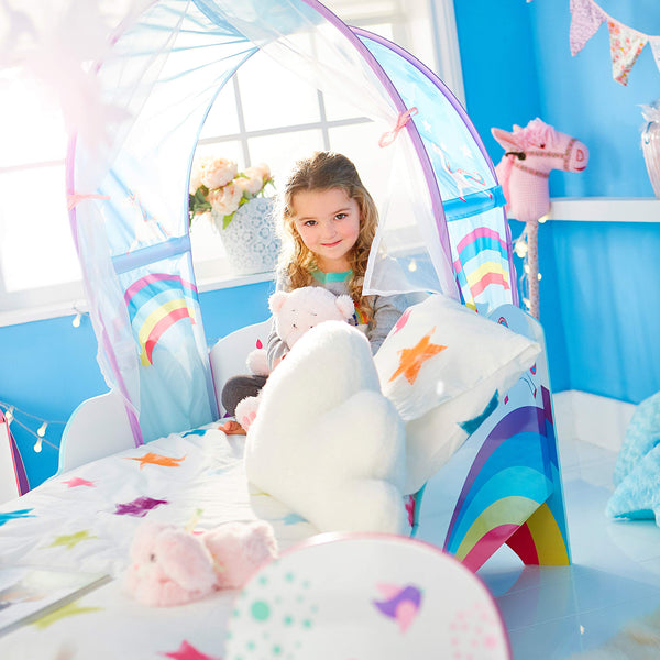 Unicorn Rainbow Toddler Bed With Storage And Canopy