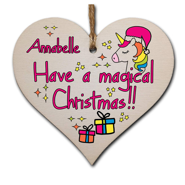 Personalised Christmas Hanging Wooden Heart Plaque Decoration Gift