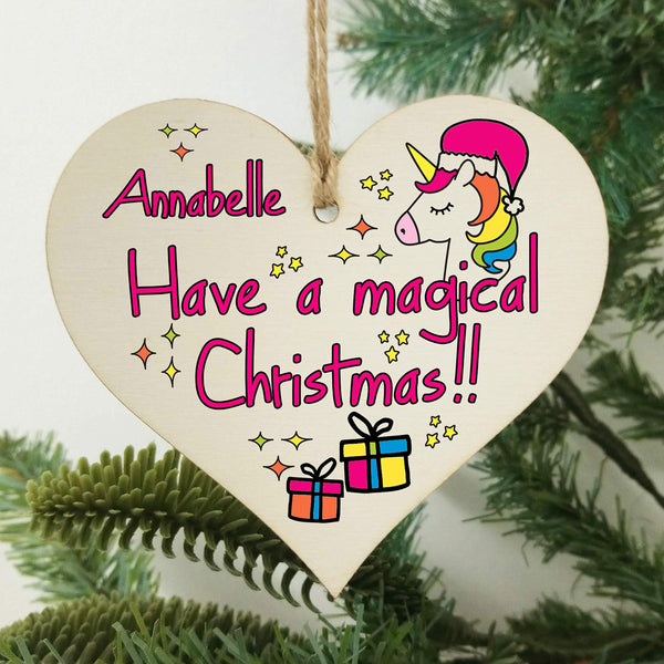 Personalised Christmas Hanging Wooden Heart Plaque Bauble
