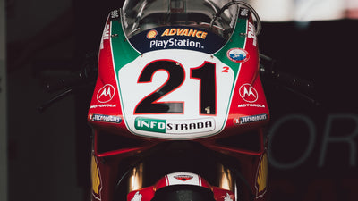 Troy Bayliss rides his title-winning Ducati 996 RS two decades later