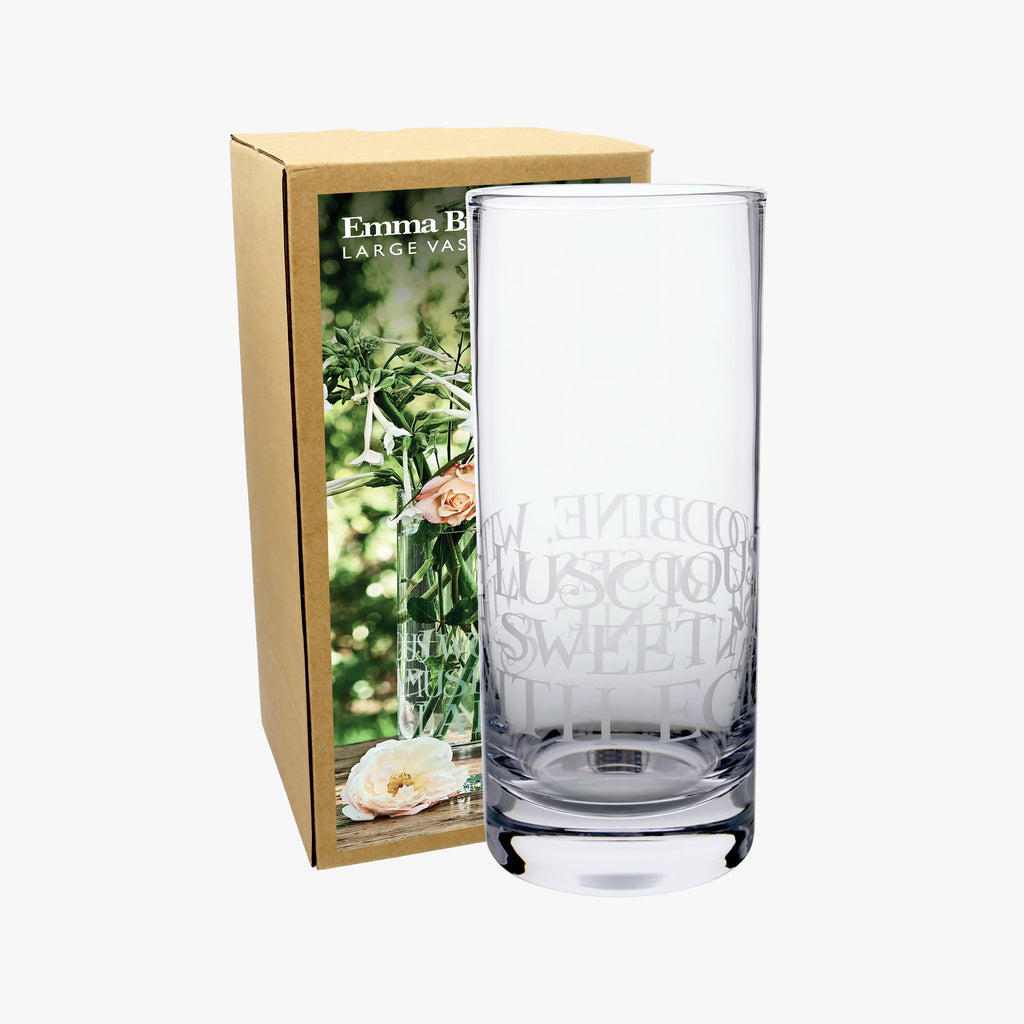 "Emma Bridgewater Black Toast Large Straight Sided Glass Vase Boxed - Hand blown and lead free, elegant straight glass vase with lettering printed on the surface spelling ""WITH LUSCIOUS WOODBINE. WITH SWEET MUSK-ROSES & WITH EGLANTINE"", perfect to place in your kitchen, living room or anywhere you want."