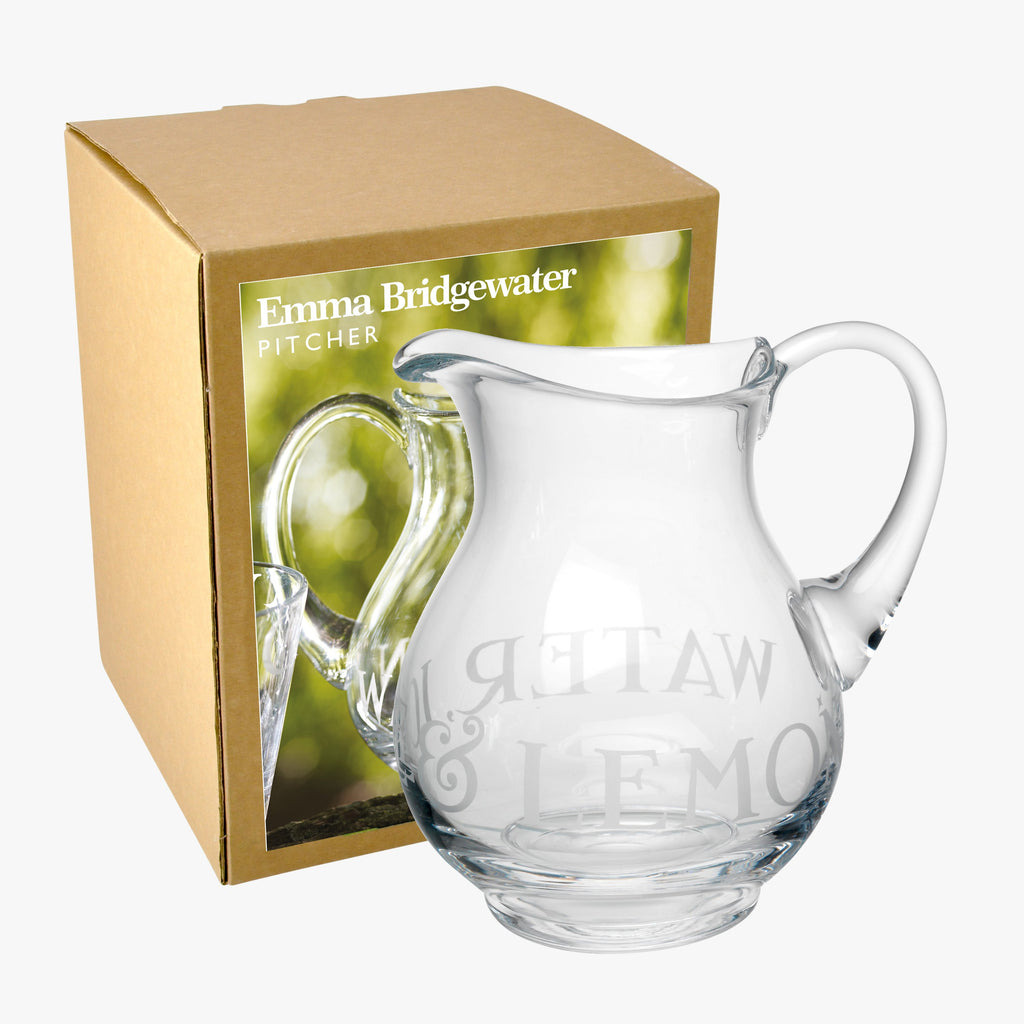 Black Toast Glass Water Pitcher Boxed