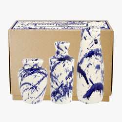 Blue Splatter Set of 3 Vases Boxed
