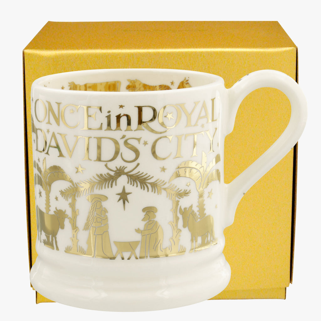 Gold Once in Royal David's City Half Pint Mug Boxed