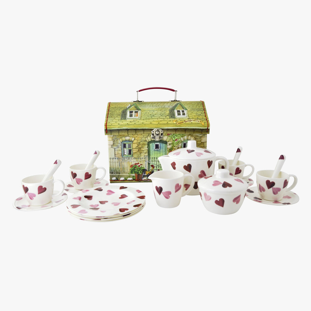 Pink Hearts 19 Piece Melamine Tea Set Boxed