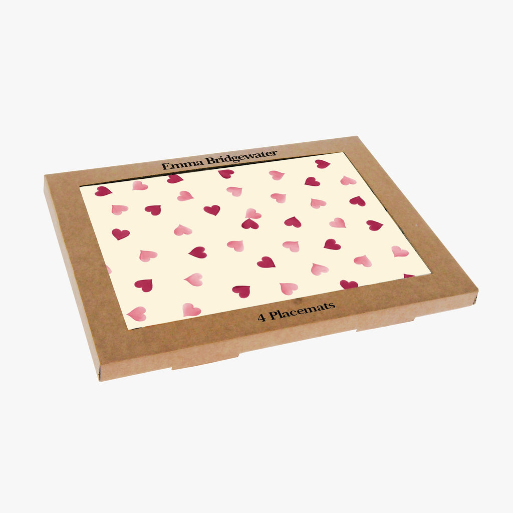 Pink Hearts Set of 4 Melamine Placemats