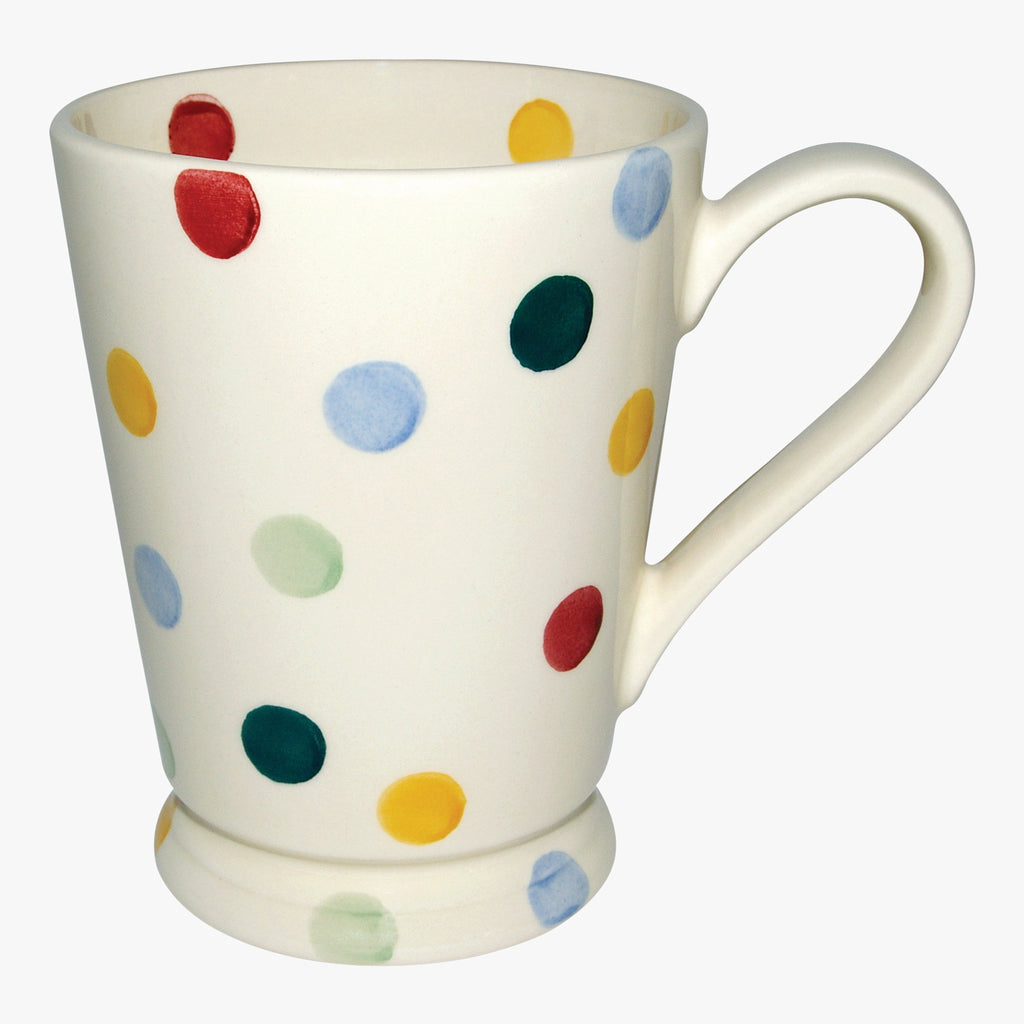 Discounted Emma Bridgewater Seconds Polka Dot Cocoa Mug - White English earthenware mug with small faults in finish but functional, microwave and dishwasher safe. Pick up an Emma Bridgewater bargain