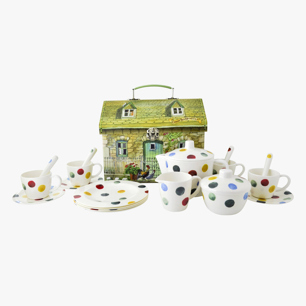 Polka Dot 19 Piece Melamine Tea Set Boxed