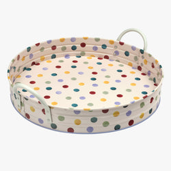 Polka Dot Large Handled Tin Tray