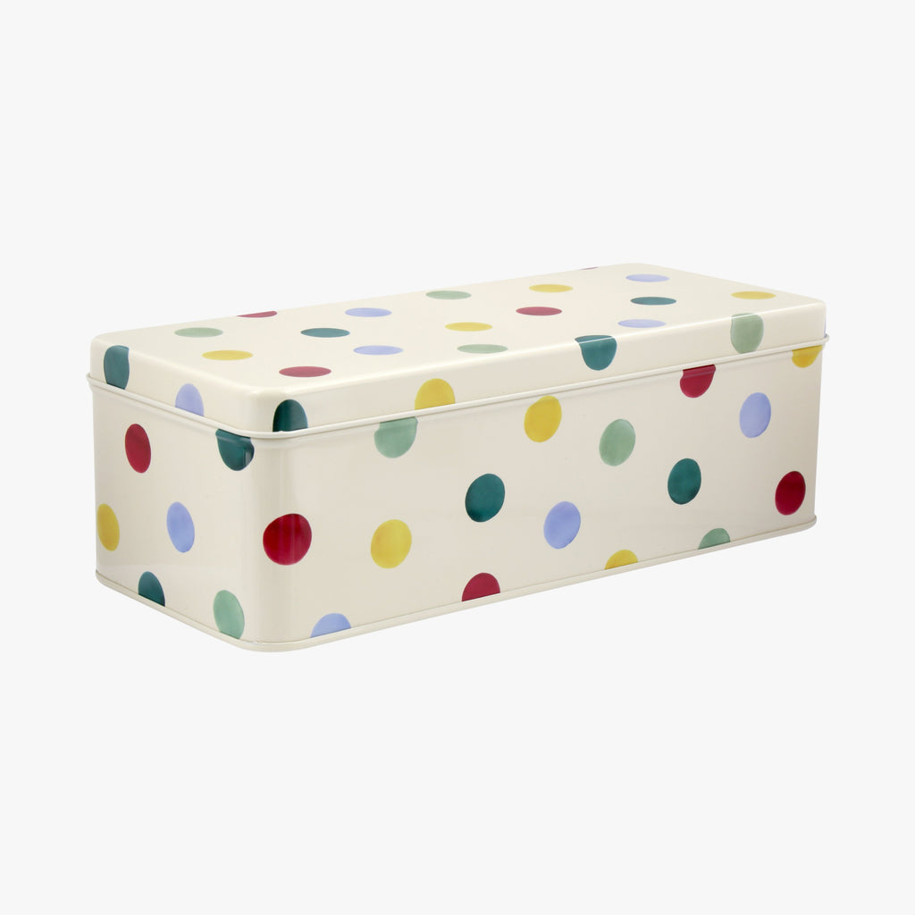 Polka Dot Long Deep Rectangular Tin
