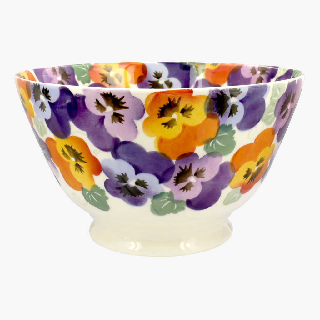 Seconds Purple Pansy Large Old Bowl