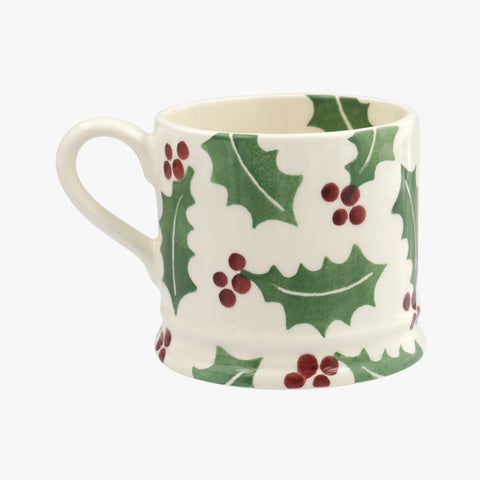 Personalised Christmas Holly Small Mug