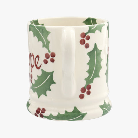 Personalised Christmas Holly 1/2 Pint Mug