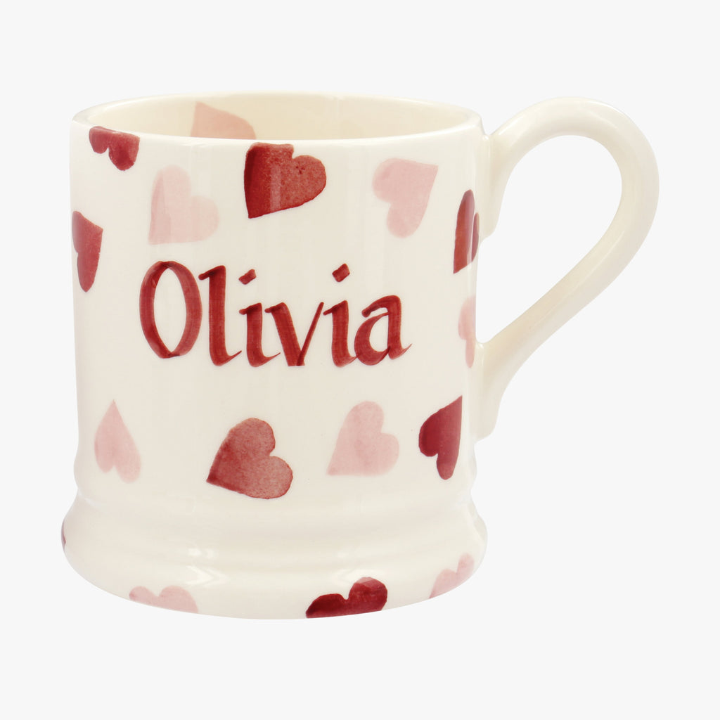 Personalised Pink Hearts 1/2 Pint Mug