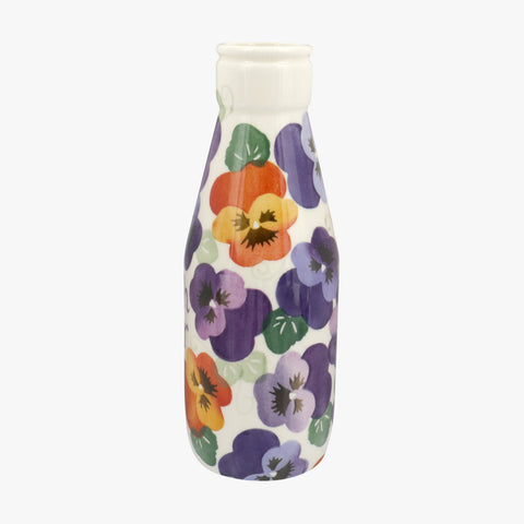 Personalised Purple Pansy Large Milk Bottle