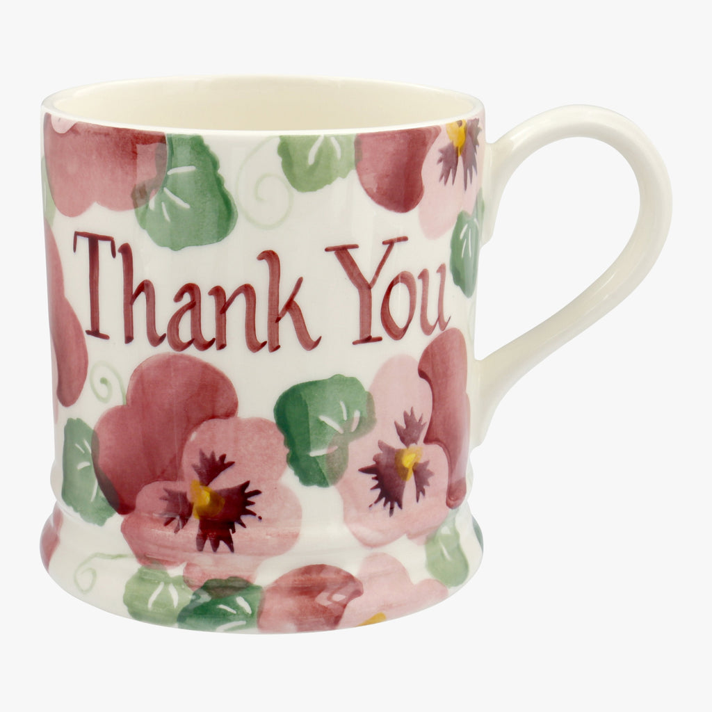 Personalised Pink Pansy 1 Pint Mug