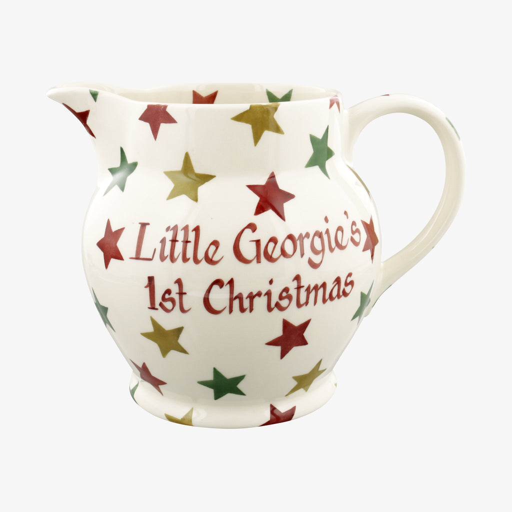 Personalised Red, Green & Gold Star 3 Pint Jug