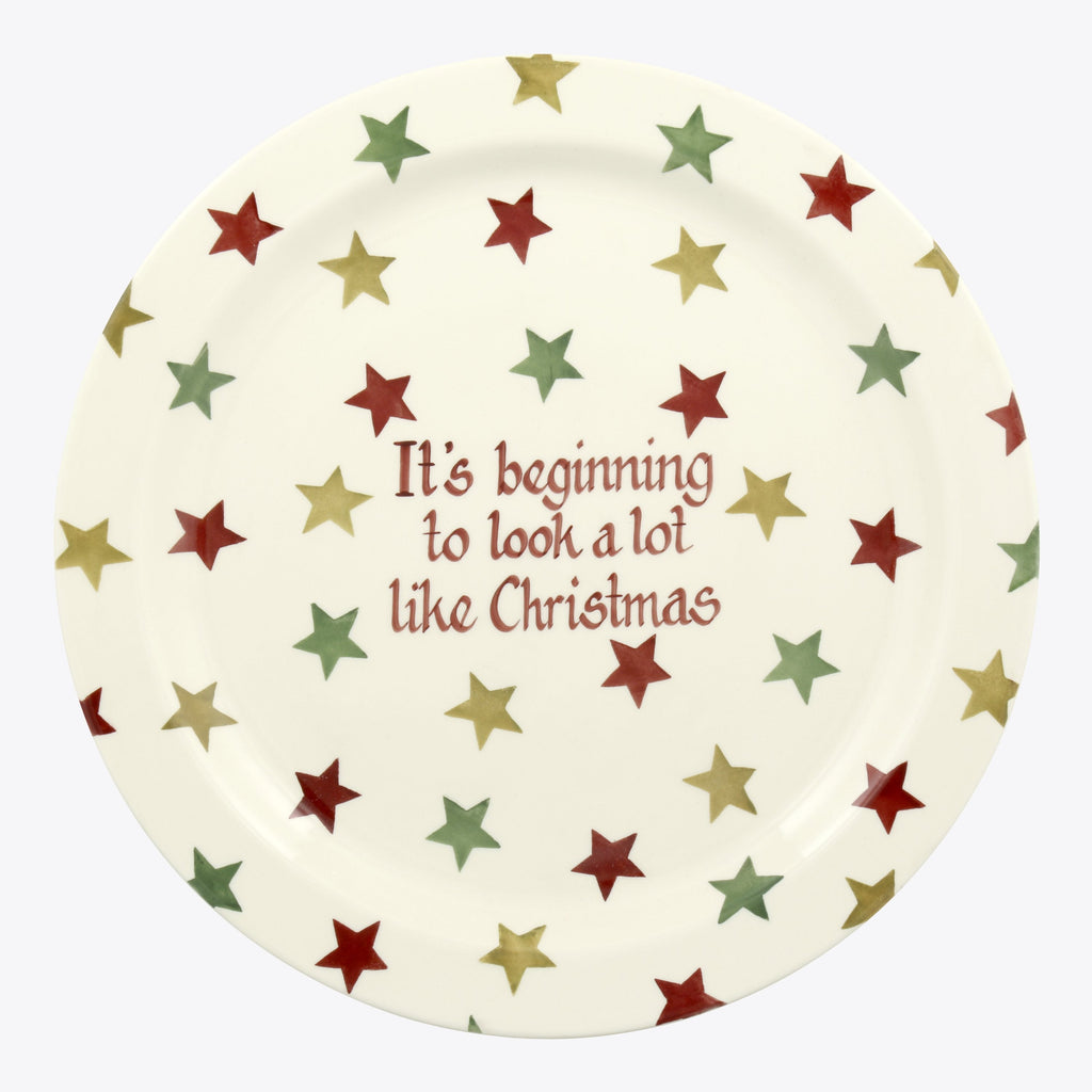 Personalised Red, Green & Gold Star Serving Plate
