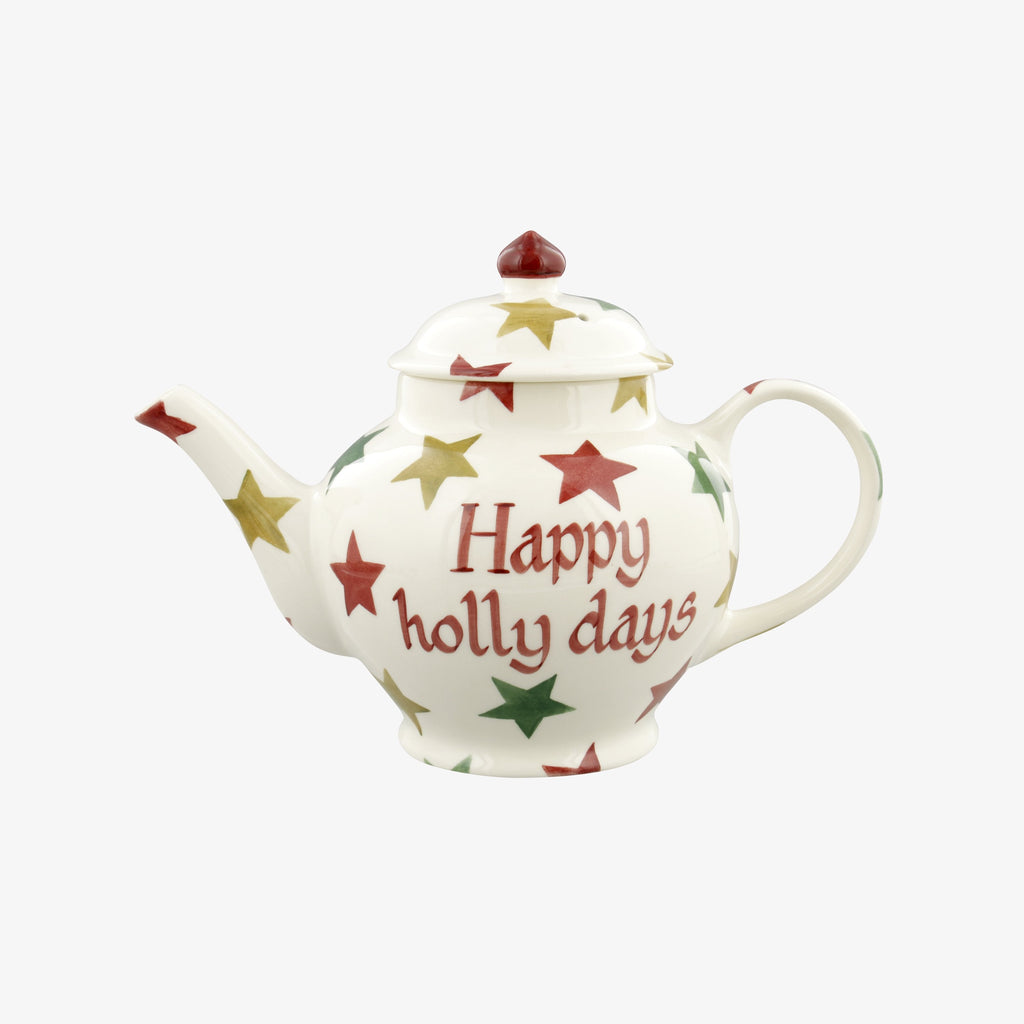 Personalised Red, Green & Gold Star 2 Mug Teapot