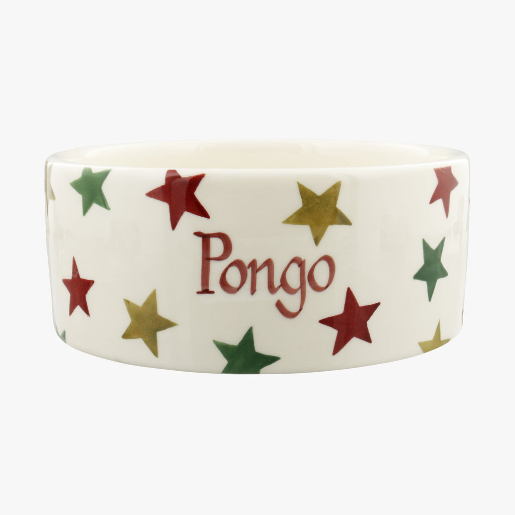 Personalised Red, Green & Gold Star Large Pet Bowl